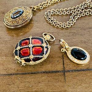 {SET} 3 Vintage Pendants w/ Interchangeable Chain